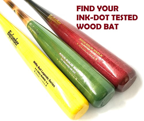 Link to Shop for Ink-Dot Tested Wood Bats - picture of three bats
